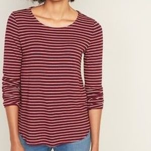 Old Navy Luxe Red Striped Long Sleeve Top